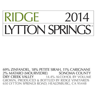 Rhône-style reds - EAST BENCH ZINFANDEL, Ridge. Dry Creek Valley, California