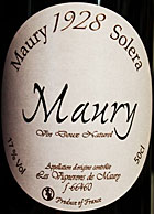 Rich, intense sweet wines - MAURY 'SOLERA 1928', Vignerons de Maury. Roussillon, South of France (50cl Bottle)