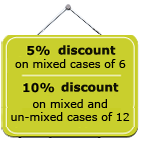 5% discount on mixed cases, 10% discount discount on un-mixed cases